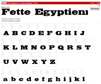 Fette Egyptienne op Dafont.com