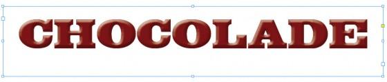 De chocoladeletters zoals ze worden weergegeven in Adobe InDesign.